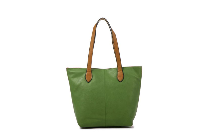 Bucket Bag with Contrast Handles - Green
