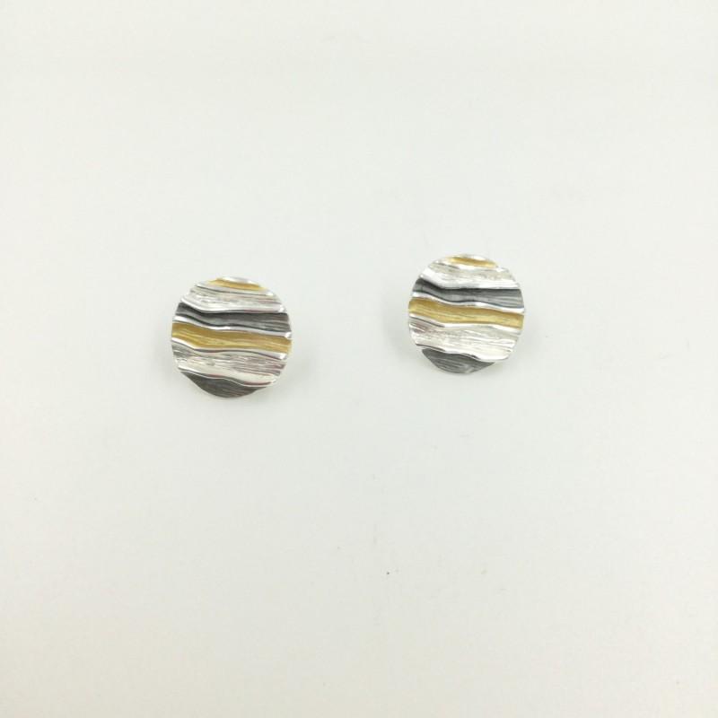 Stripe Circle Stud Earrings