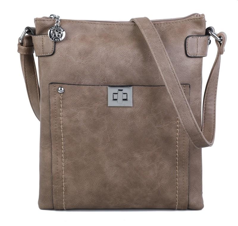 Cross Body Messenger Handbag - Taupe