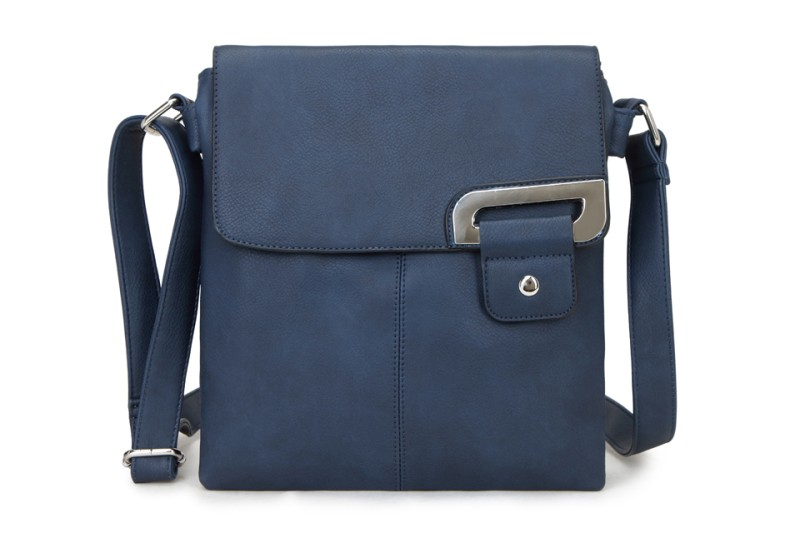 Asymmetric Multi Pocket Messenger Bag - Navy