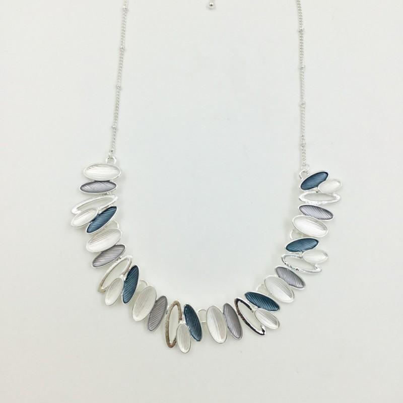 Oval Link Necklace - Blue