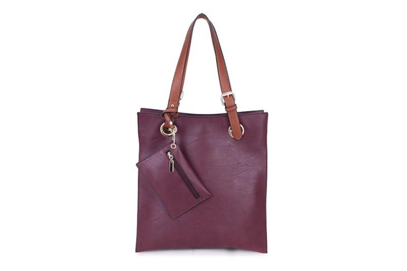 5 Pocket Filing Bag with Purse (Portrait) - Wine