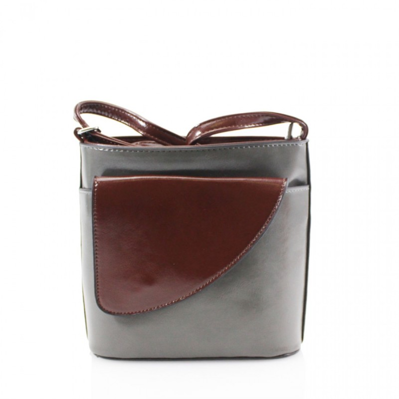 2 Tone Small Cross Body Handbag - Dark Grey