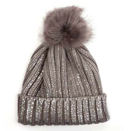 Glitter Pom Pom Hat - Grey/Silver