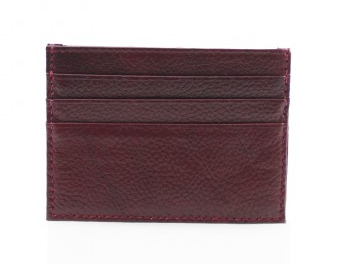 Leather Card Wallet - Wine
