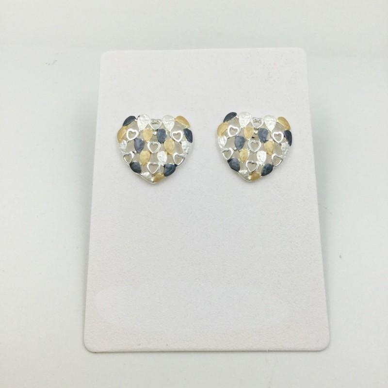 Multi Heart Earrings - Grey/Mustard/Silver