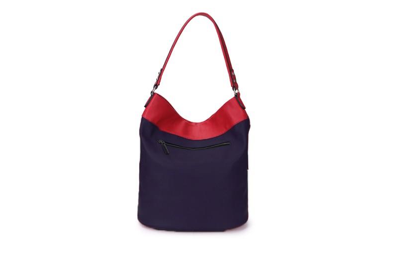 Large Soft Multi Pocket Detail Shoulder Bag - Navy/Red
