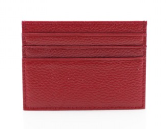 Leather Card Wallet - Red