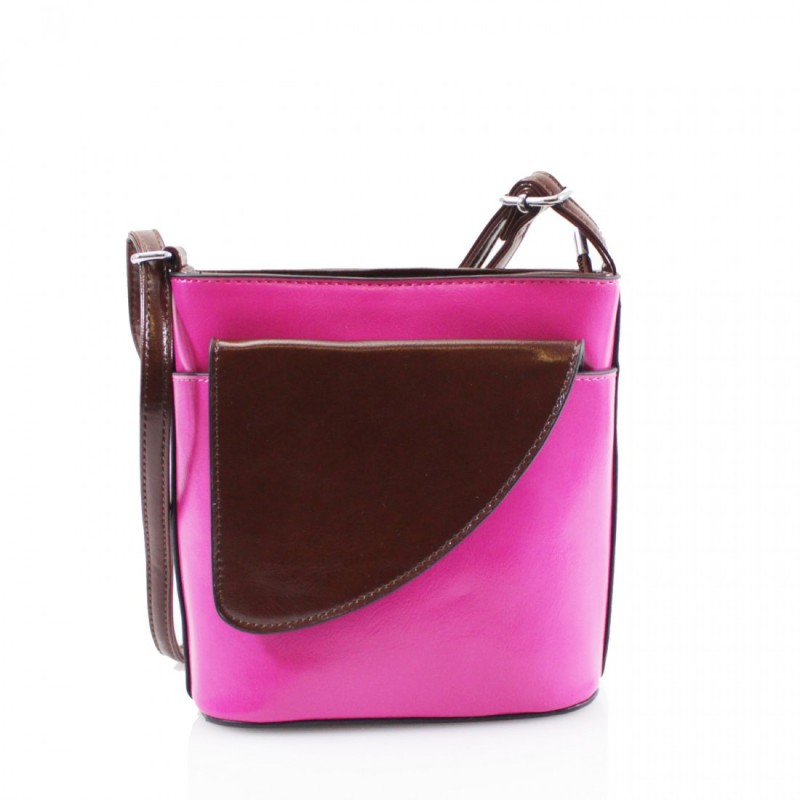 2 Tone Small Cross Body Handbag - Fuchsia