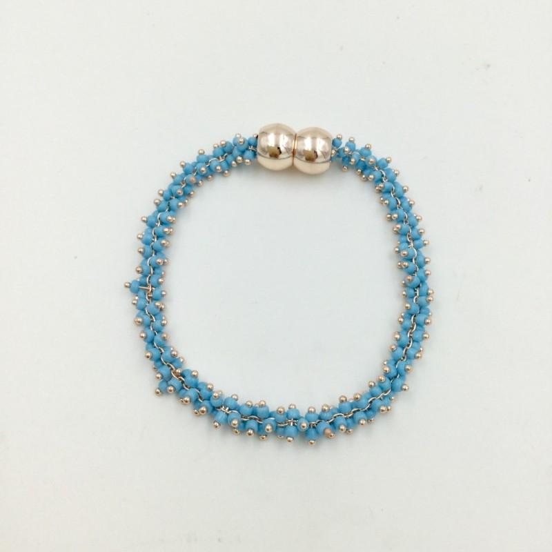 Mini Beaded Magnetic Bracelet - Blue