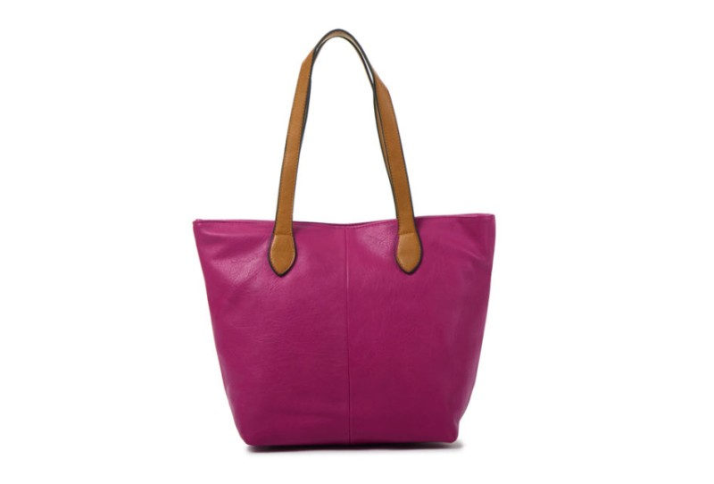 Bucket Bag with Contrast Handles - Purple