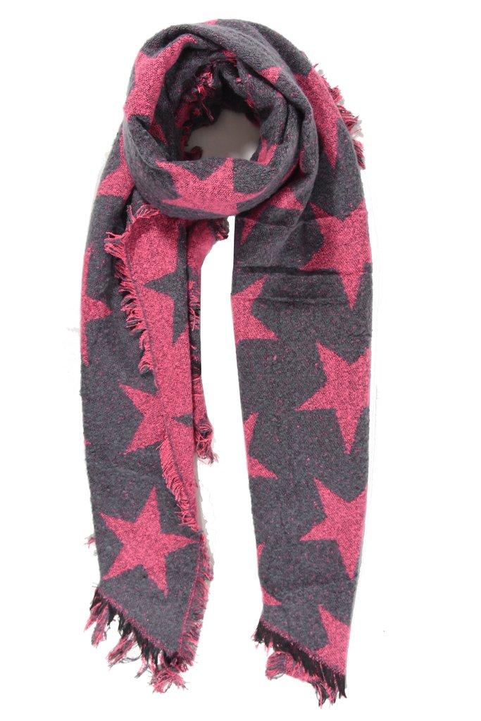 Chunky Knit Star Scarf - Fuchsia/Grey