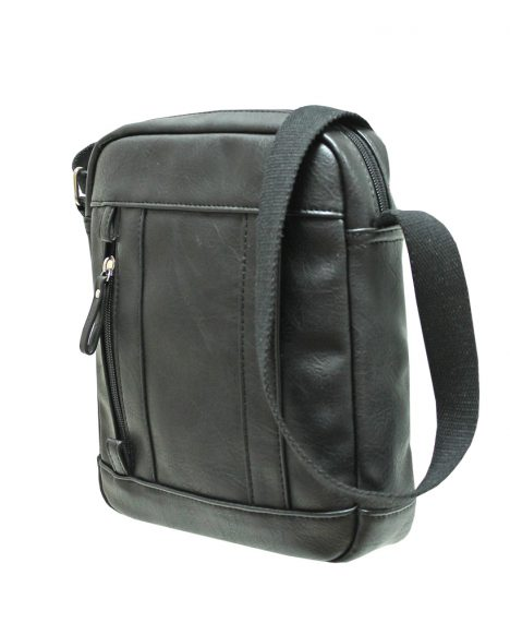 Zip Pockets Crossbody Bag - Black