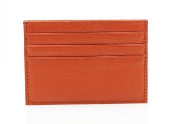 Leather Card Wallet - Orange