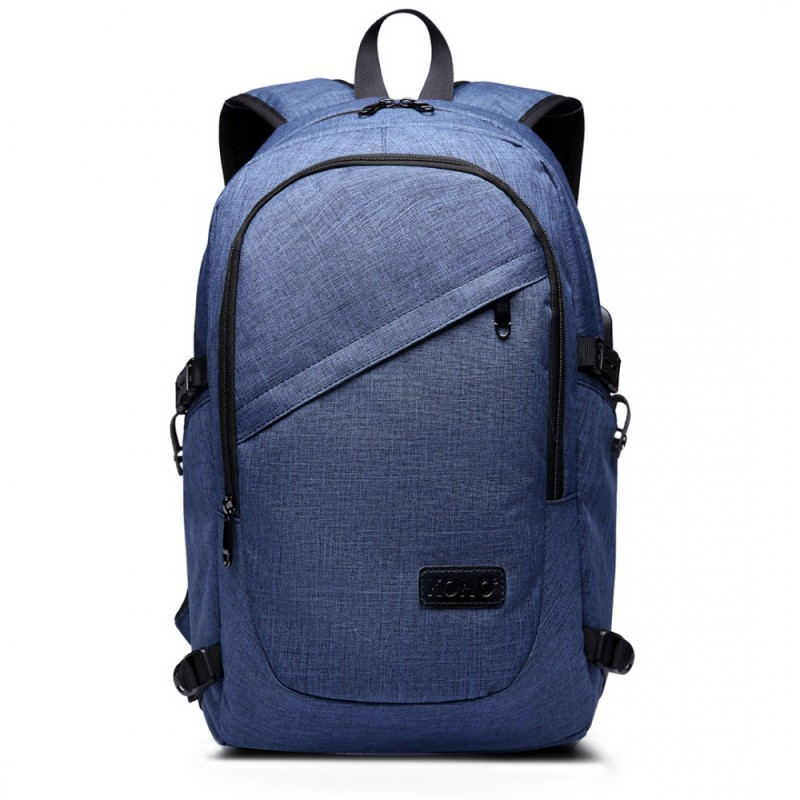 Kono Laptop Backpack with USB Charging Port - Blue