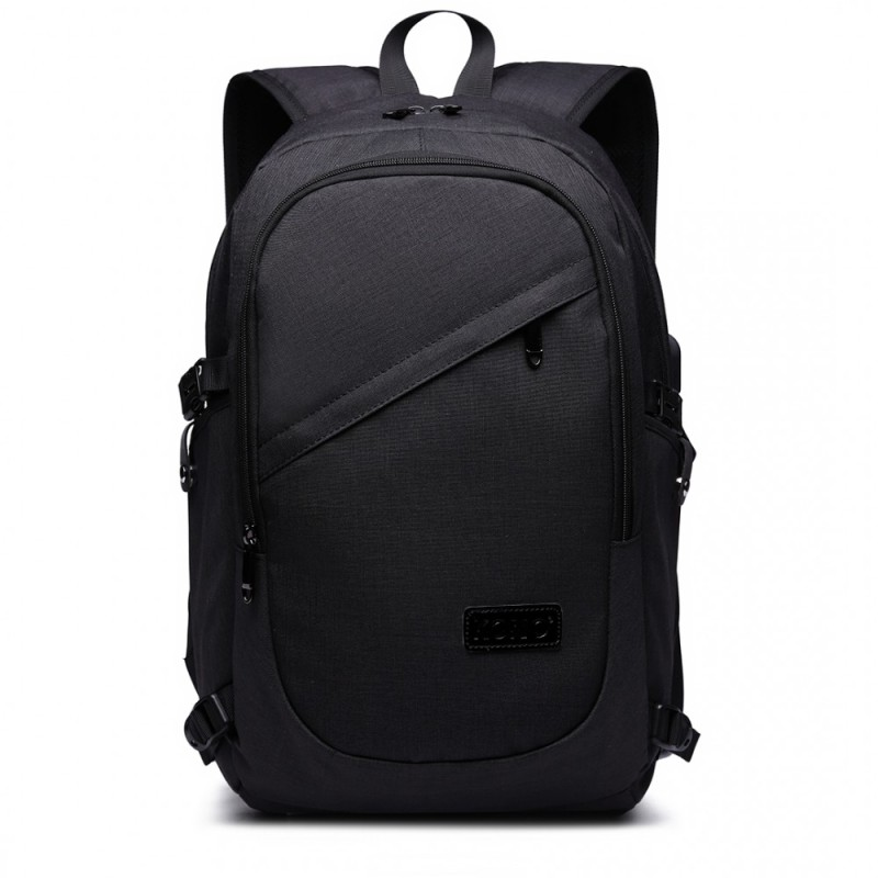 Kono Laptop Backpack with USB Charging Port - Black