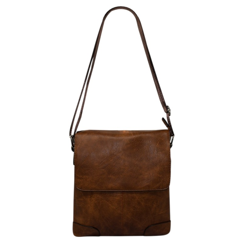 Men's Flapover Crossbody Bag - Brown