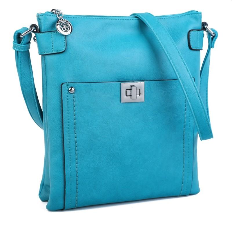Cross Body Messenger Handbag - Turquoise