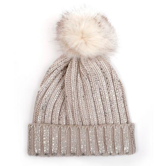 Glitter Pom Pom Hat - Beige/Silver