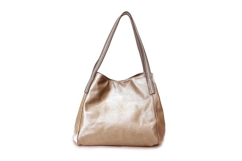 3 Section Stitched Shoulder Bag - Gold