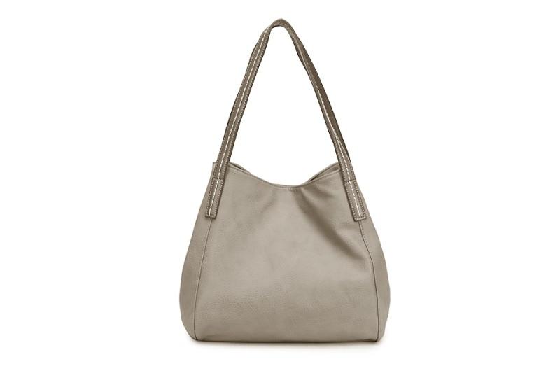 3 Section Stitched Shoulder Bag - Light Grey