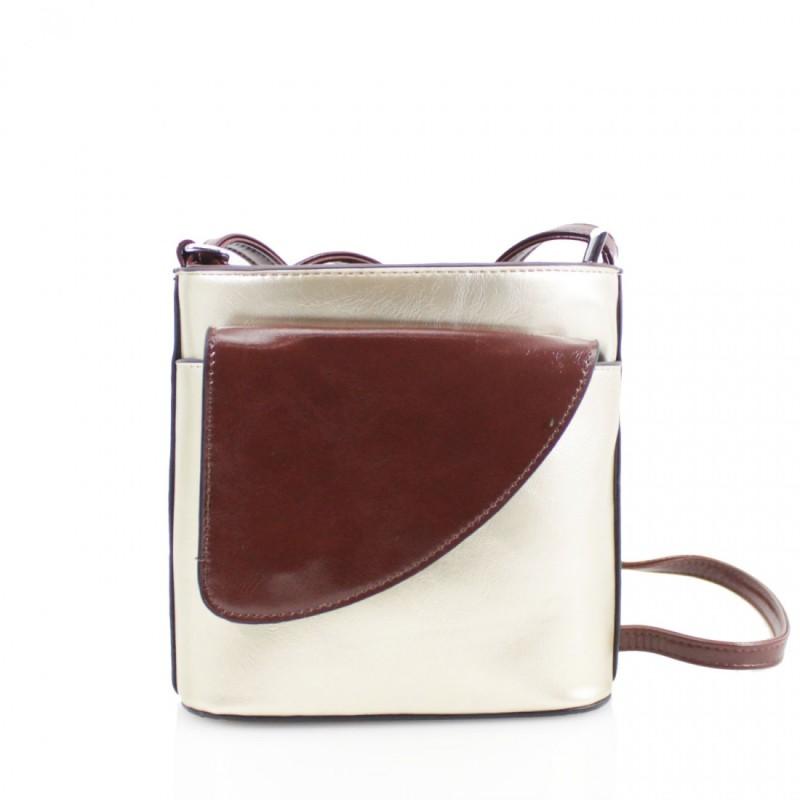 2 Tone Small Cross Body Handbag - Gold