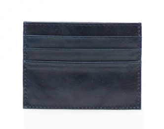 Leather Card Wallet - Navy