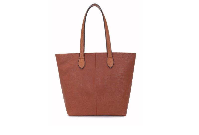 Bucket Bag with Contrast Handles - Tan