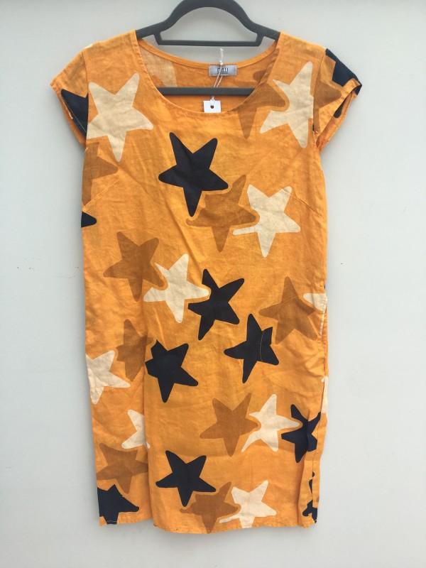 Italian Linen Star Print Dress - Orange