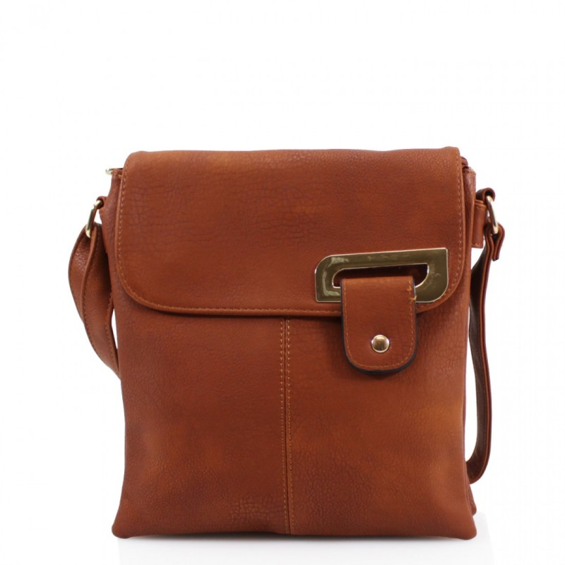 Asymmetric Multi Pocket Messenger Bag - Tan