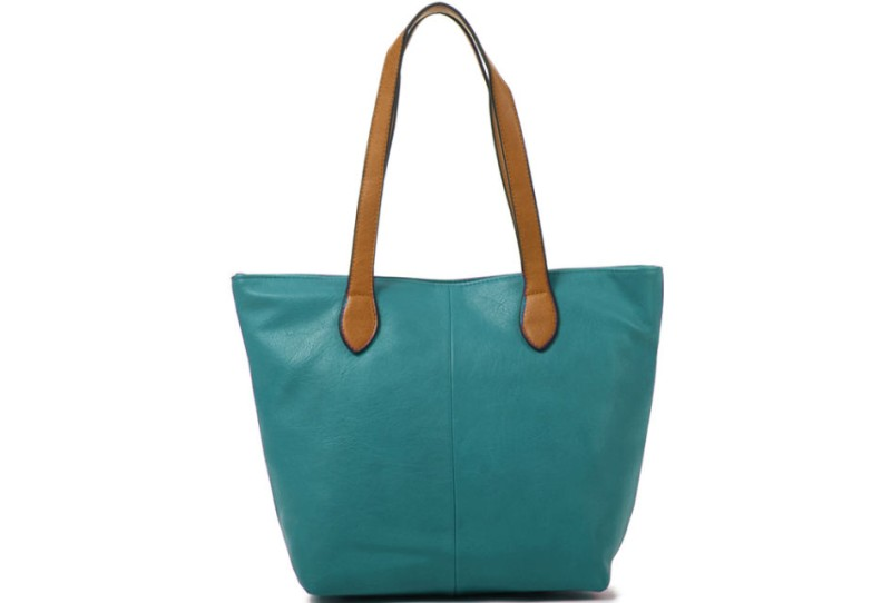 Bucket Bag with Contrast Handles - Teal