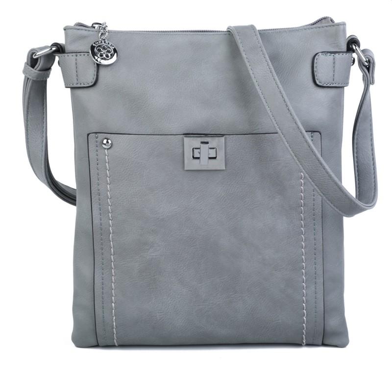 Cross Body Messenger Handbag - Grey
