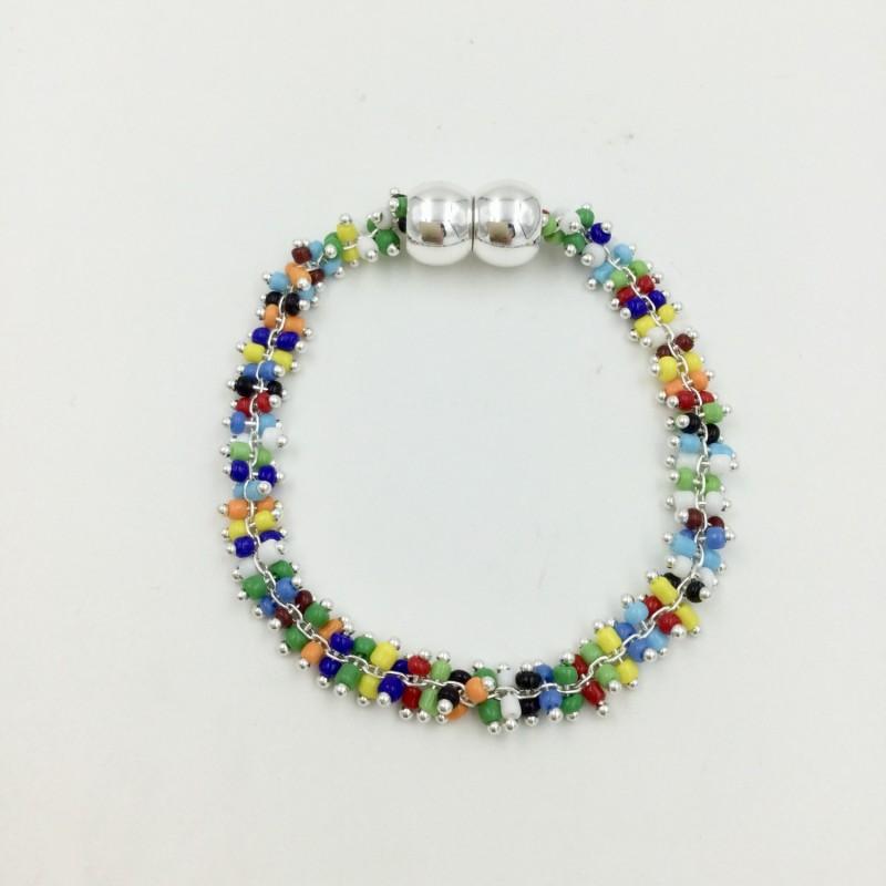 Mini Beaded Magnetic Bracelet - Multicoloured