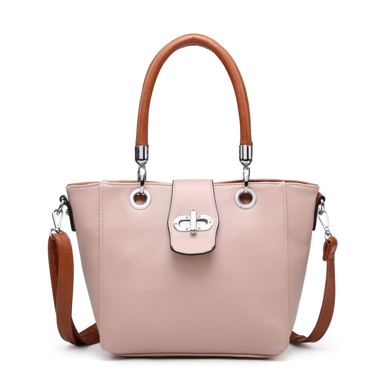 Multi Strap Flap-over Tote Bag - Nude Pink