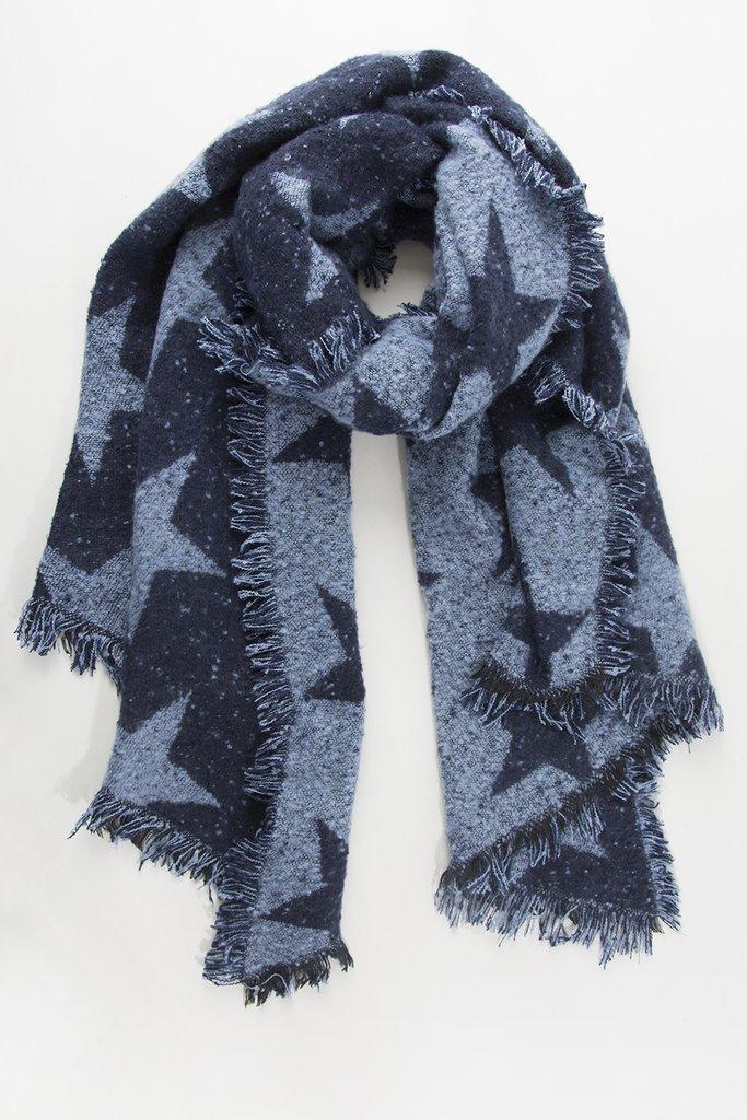 Chunky Knit Star Scarf - Navy/Light Blue