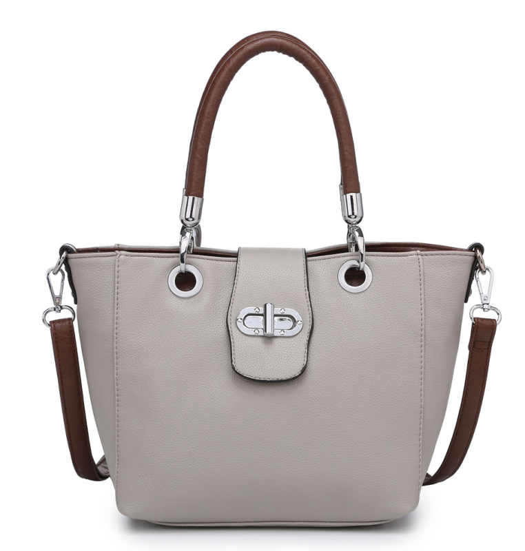 Multi Strap Flap-over Tote Bag - Light Grey