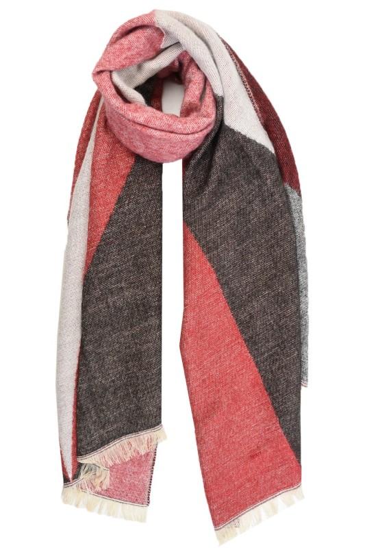 Geometric Blanket Scarf - Black/Red