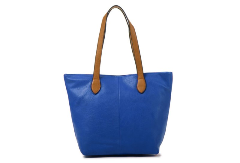 Bucket Bag with Contrast Handles - Royal Blue