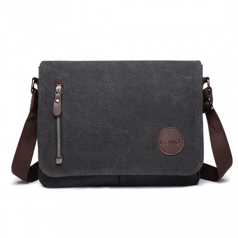 Kono Retro Messenger Bag - Black