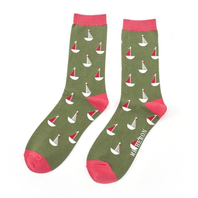 Men's Little Boats Bamboo Socks - Green