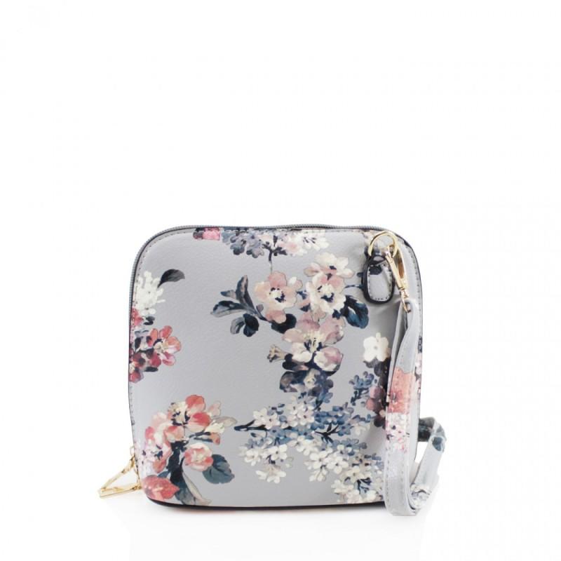 Oyster Cross Body Handbag - Floral Grey
