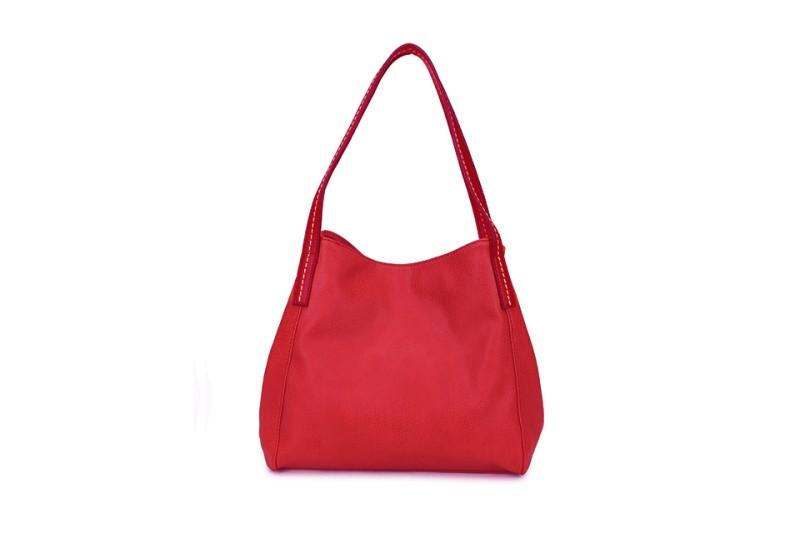 3 Section Stitched Shoulder Bag - Red
