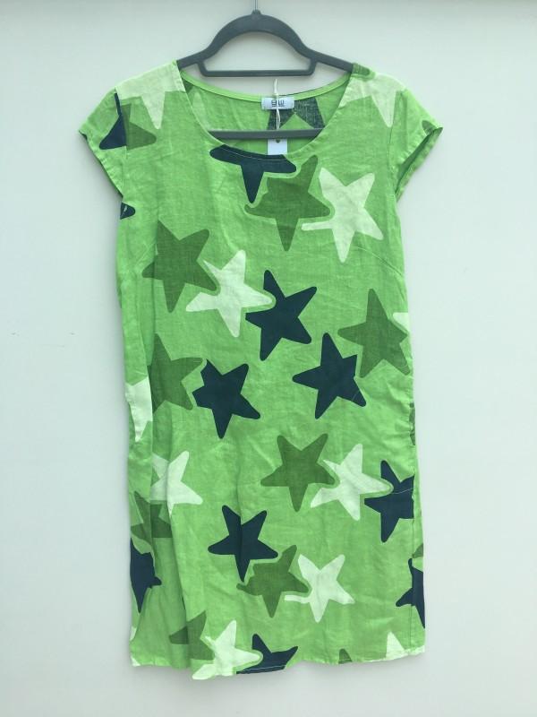 Italian Linen Star Print Dress - Lime