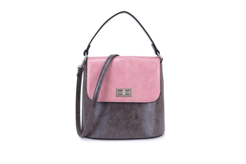 2 Tone Classic Handbag - Dark Grey/Pink