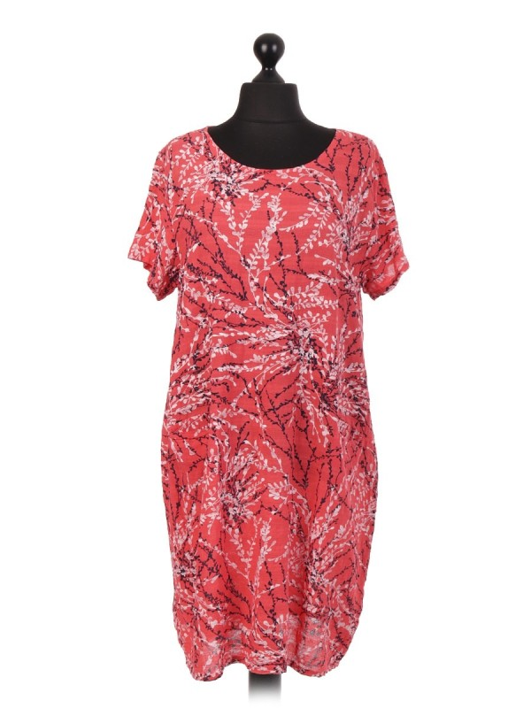 Italian Branch Printed Short Sleeve Dress With Pockets - Coral