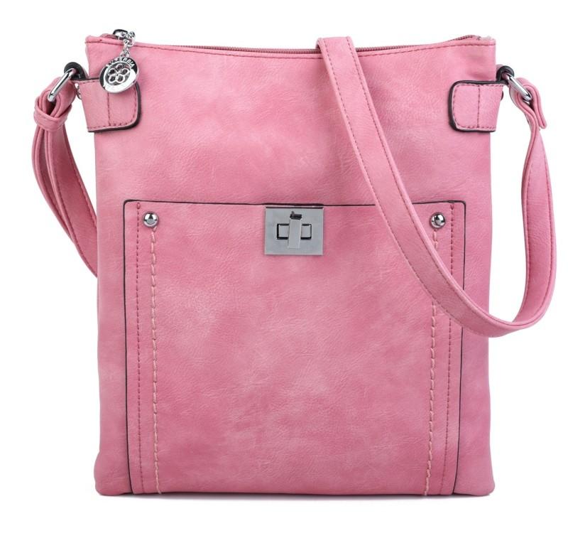 Cross Body Messenger Handbag - Pink