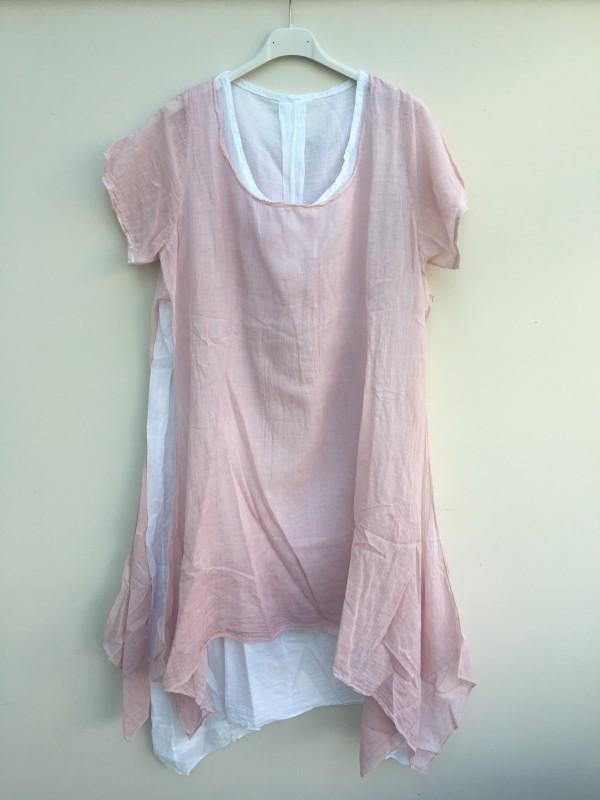 Layered Linen Dress - Pink