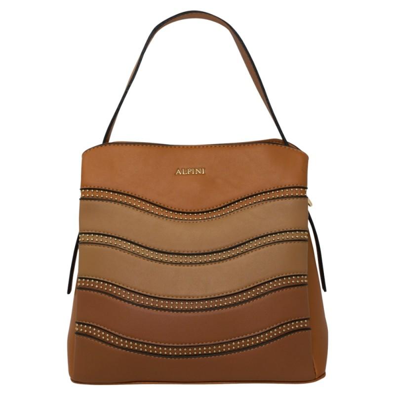 Alpini Multi Tone Striped Handbag - Brown