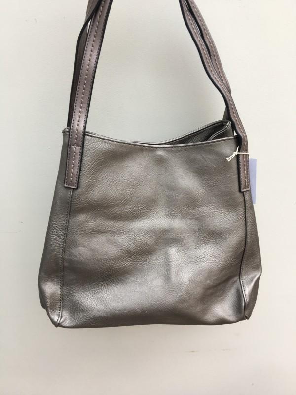 3 Section Stitched Shoulder Bag - Pewter