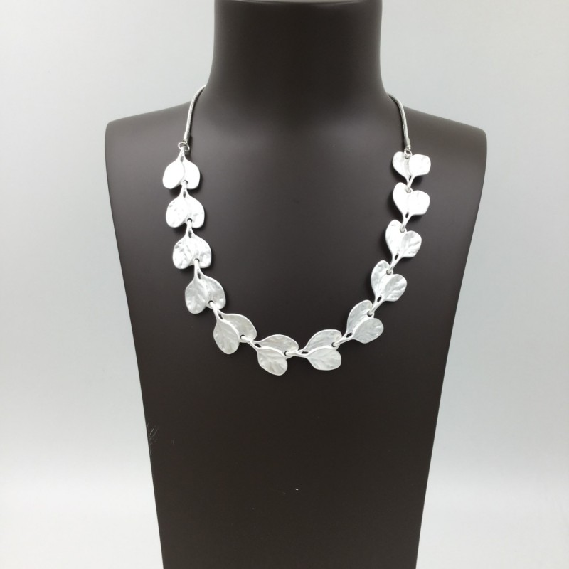 Leaf Link Necklace - Silver